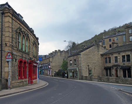 hebden bridge, west yorkshire / united kingdom - 20 May 2020: New road in the centre of hebden bridge with no traffic on the road Editorial