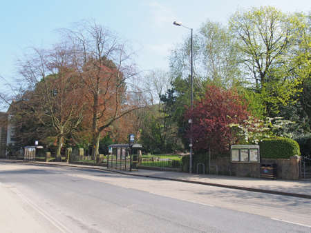 hebden bridge, west yorkshire / united kingdom - 20 May 2020: the park on new road in the centre of hebden bridge with no traffic on the road Editorial