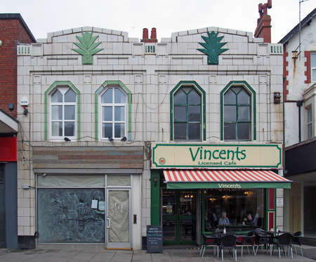 Cleveleys, Blackpool, Lancashire / United Kingdom - 7 March 2020: people in a cafe in an old art deco building in the the town center in Cleveleys, Blackpool Lancashire. Editorial
