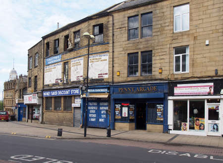 bradford, west yorkshire, united kingdom - 19 june 2019: old buildings and shops in oastler square and north parade in bradford west yorkshire