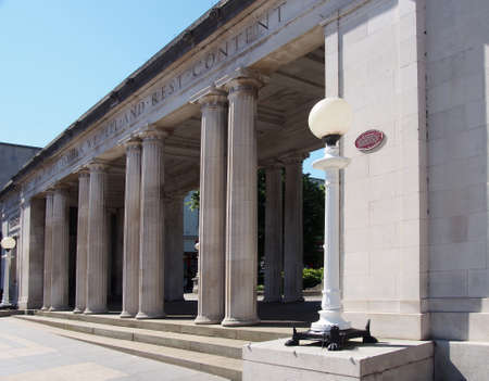 southport, merseyside, united kingdom - 28 june 2019: close up of the large war memorial complex in the centre of southport merseyside