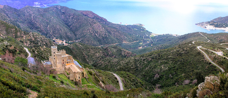 View of the Monastery of Sant Pere de Rodes in Catalonia - Spain 版權商用圖片