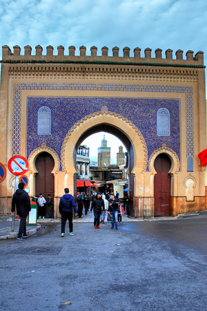 Bab Boujloud in the medina of Fes in Morocco 版權商用圖片