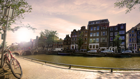 Nice view in the center of Amsterdam in Netherlands