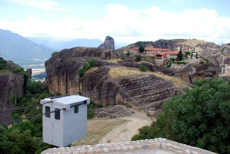 meteors: The monasteries of mtores with a cable car. Stock Photo