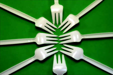 snack bar: Fork white with plastic snack bar  on green bottom.