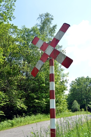 forest railroad: Road sign of railroad tracks in the forest.
