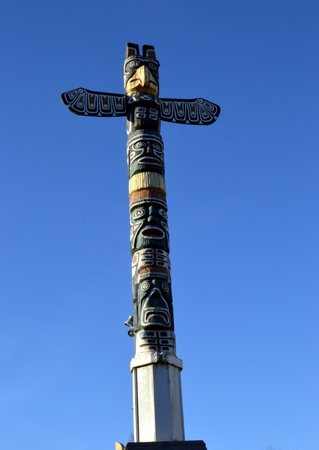 Indian totem from Canada donated to the town of Virton in Belgium