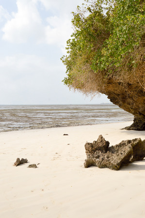 Small cove with a rock on the white sand of the bamburi beach in Mombasa, Kenya