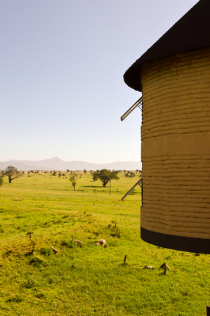 Hotel room hanging over the savanna of Tsavo West Park in Kenya Stock Photo