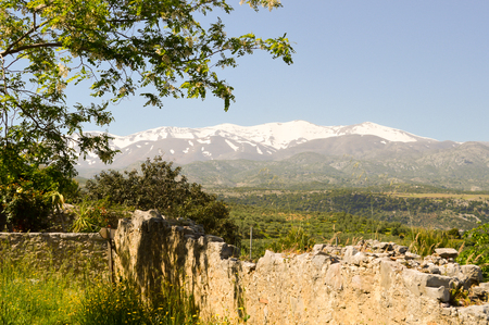 View of the snow-capped mountain mountains in the center of Crete