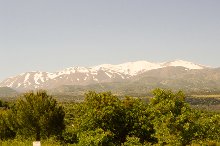 View of the mountains of Mount Ida in the center of Crete
