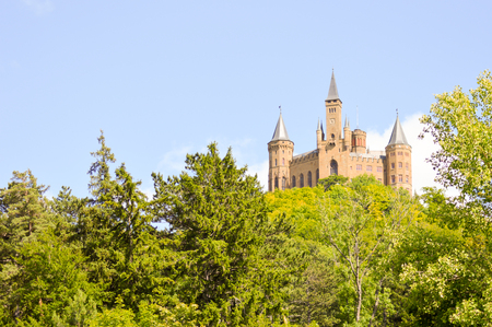 View of the castle of Hohenzollern in the municipality of bisingen in the state of Baden-Württemberg in Germany