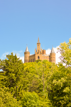View of the castle of Hohenzollern in the municipality of bisingen in the state of Baden-Württemberg in German Stock Photo