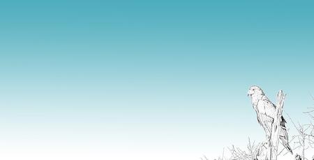 グラデーションの青い背景の枝の描画簡単イーグル 写真素材