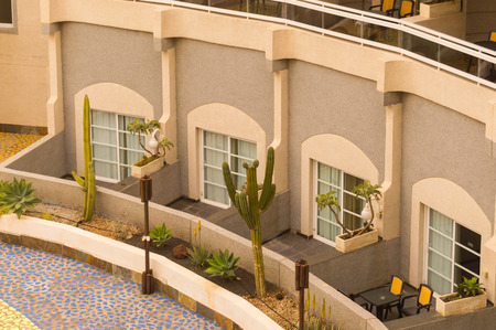 Several terraces of semicircular apartments on the island of Tenerife in Spain Stockfoto