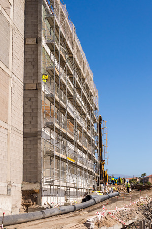 Scaffolding on the construction of a building of Los Abrigos in the south east of the island of Tenerife in Spain