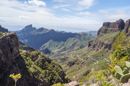 View of the mountains in the region of the village of Masca in the north west of island of Tenerife in SPAIN 스톡 콘텐츠