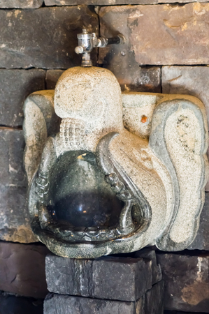 Carved suspended stone urinal in the shape of an elephant head in a wildlife park in northwestern Belgium Stock Photo