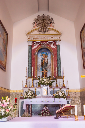 Altar with the Virgin Mary of the sanctuary of Maria SS in Castel Di Tusa in northern Sicily in Italy