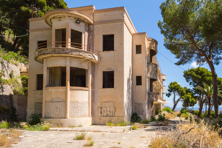 Small, abandoned hotel on the heights of Palermo in northwestern Sicily