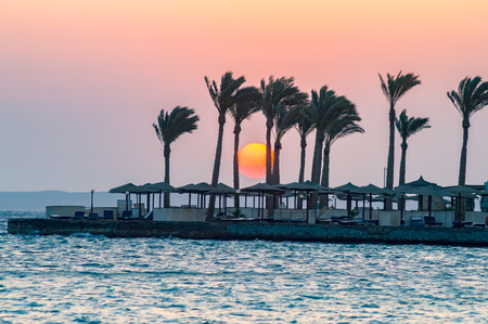 Sunrise on a peninsula of Hurghada on the Red Sea in Egypt 스톡 콘텐츠