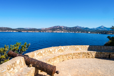 Old cannon cannon overhang the marine reserve of the Malgrats Islands northwest of the island of Palma de Mallorca