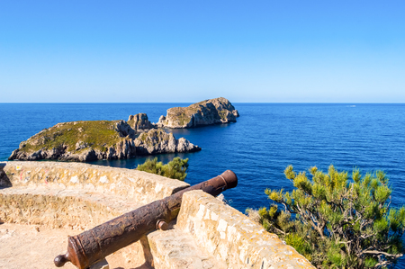 Old cannon cannon overhang the marine reserve of the Malgrats Islands northwest of the island of Palma de Mallorca 版權商用圖片