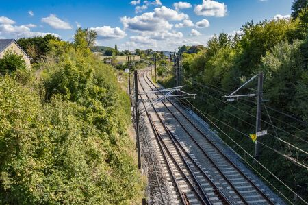 Railway line in the city of Virton in the province of Luxembourg in Belgium Stockfoto