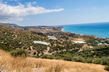 View on the coast and the village of Keratokampos in the south of the island of Crete in Greece Stok Fotoğraf