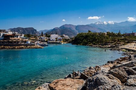 View of the port of the Sissi city in northeastern island Crete in Greece