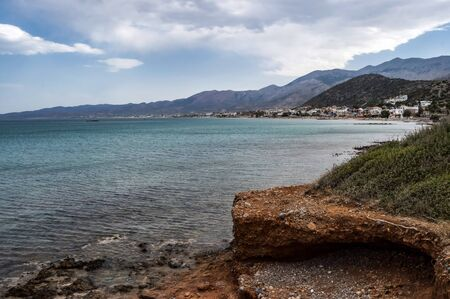 View of the coast and the beach of Stalis in the north of the island of Crete in Greece
