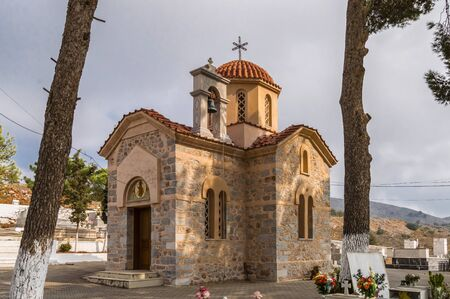 Orthodox chapel in a cemetery on the Greek island of Greece