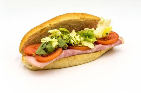 Belgian ham sandwich with salad and tomato on white background Reklamní fotografie