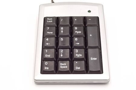 Numeric keyboard with metallic edges or numeric keypad isolated white