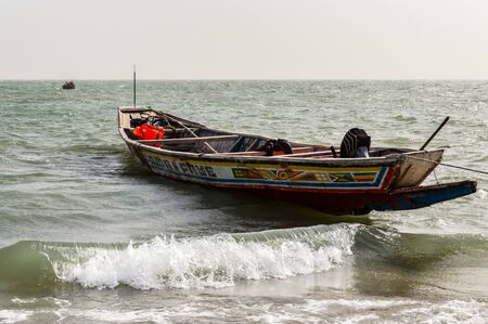 Colorful fishing boat in Banjul, capital of The Gambia, West Africa Stock Photo