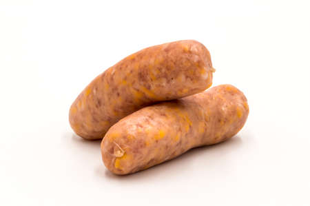 two white sausages with raw cheese on a white background