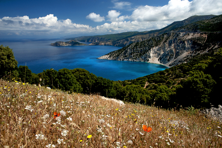 Myrtos Bay, Kefalonia, Greece. View of the eastern coastline of Kefalonia and the deep blue Ionian Sea near the popular Myrtos beach, viewed from a hillside covered in spring flowers.