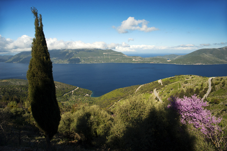 A panoramic view across the Ionian Sea from the Greek island of Kefalonia to the neighboring island of Ithaca with a tall Mediterranean cypress tree and pink spring blossoms in the foreground. Stock Photo