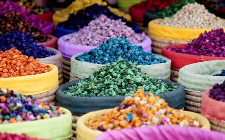 Multicolored dried flowers, used for soaps and perfumes as well as coloring, dyes and as an ingredient in foods, on sale in the souks of Marrakesh's medina area in Morocco.