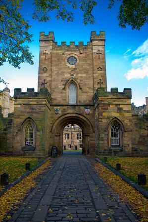 durham: long drive covered in leaves leading up to durham castle Stock Photo