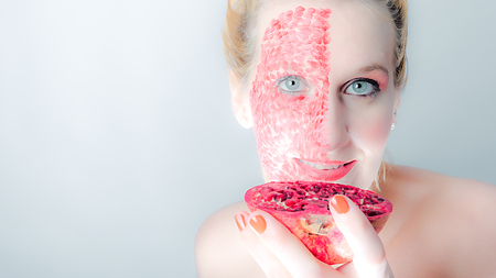 atractive: Portrait with a special pomegranate MakeUp Stock Photo