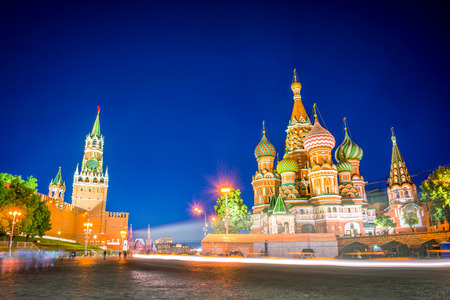 St Basils cathedral and Kremlin on Red Square at night, Moscow, Russia