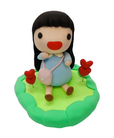 Modeling clay, plasticine, Kids activities, Little girl clay isolated on a white background