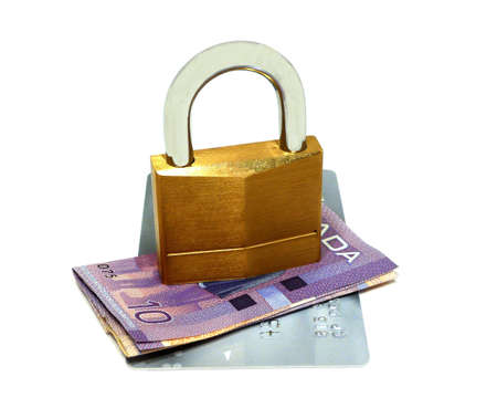 Padlock securing Finance isolated on white photo