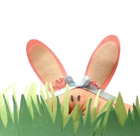 Easter bunny hand puppet with paper grass