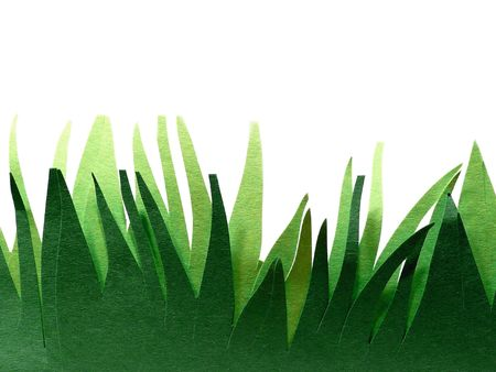 Construction paper grass over a white background