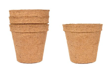 Isolated gardening pots over white Stock Photo
