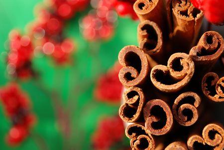 Macro shot of a bunch of cinnamon sticks