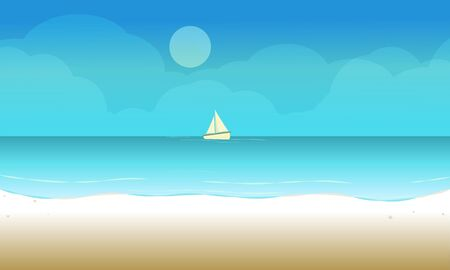 The Beach landscape background with sailboat in the sea ocean. Vector illustration. Vetores